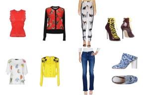 Top Free People + Dolce & Gabbana, Bottom Stella McCartney, shoes Dsquared2. Top Love Moschino + Oscar De La Renta, bottom 3 Brand, shoes Maison Margiela.
