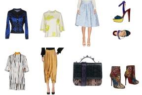 Top Versace + MSGM, skirt Io Couture, shoes Christian Louboutin. Top Marni, bottom Gucci, bag Salar, shoes Christian Louboutin.