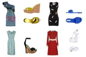 Dress Lucille, shoes Jimmy Choo. Dress Moschino, shoes Jimmy Choo. Dress George & Johns, shoes Balmain. Dress Dolce & Gabbana, shoes Giuseppe Zanotti.