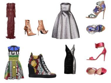 Dress Michael Kors Collection, shoes Haider Ackermann, dress Daniele Carlotta, shoes Jimmy Choo. Dress Versace, shoes Giuseppe Zanotti, dress Versace, shoes Bianca Di..