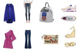 Top Marques'Almeida, bottom Diesel, backpack Moschino, Shoes Air Max 97. Bag Dolce & Gabbana, shoes Jimmy Choo.