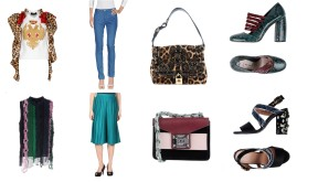 Top Dsquared2, bottom Tru Trussardi, bag Dolce & Gabbana, shoes Miu Miu. Top Versace, bottom Céline, bag Salar, shoes Marni.