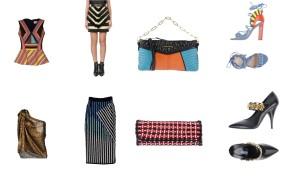 Top Peter Pilotto, skirt Balmain, bag Miu Miu, shoes Paula Cademartori. Top Lanvin, skirt David Koma, bag Balenciaga, shoes Prada.