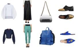 Top Enföld, bottom Stella McCartney, bag Moschino, shoes Marni. Top Tibi, bottom Gaudì, backpack Laura di Maggio, shoes Bianca Di.