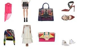 Top Balmain, skirt Philosophy By Alberta Ferretti, bag Paula Cademartori, shoes Valentino. Top Versace, skirt Maticevsky, bag Paula Cademartori, shoes Tod's.