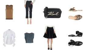 Top Scotch & Soda, bottom Stella McCartney, bag Karl Lagerfeld, shoes Sergio Rossi. Top Dolce & Gabbana + Pinko, shoes Jil Sander.