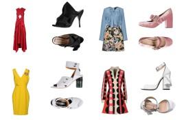 Dress Proenza Schouler, shoes N°21. Dress Marco Bologna, shoes Sam Edelman. Dress Versace, shoes Acne Studios. Dress Brittany Fuson, shoes N°21.