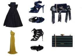 Dress Oscar de la Renta, shoes Roger Vivier, bag J. W. Anderson. Dress Roberto Cavalli, shoes Tom Ford, bag Elie Saab.