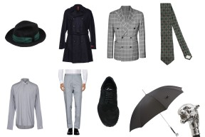 Hat Brian Dales, Coat Ernesto, Jacket 8, Tie Prada, Shirt Balmain, Trousers Valentino. Shoes Ylati Heritage, Umbrella Pasotti